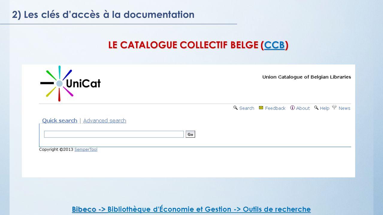 LE CATALOGUE COLLECTIF BELGE (CCB)