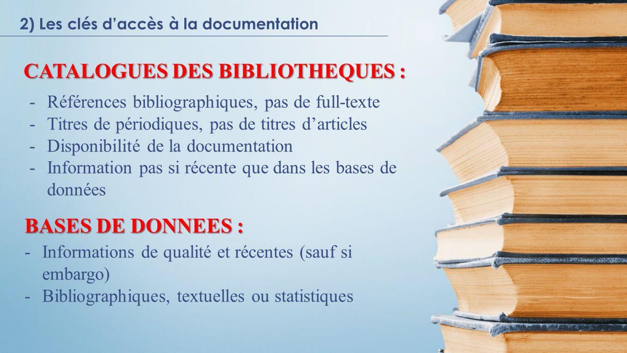 CATALOGUES DES BIBLIOTHEQUES :