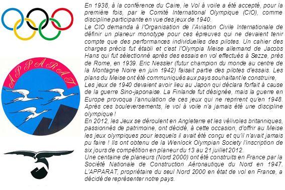 En 1938, à la conférence du Caire, le Vol à voile a été accepté, pour la première fois, par le Comité International Olympique (CIO), comme discipline participante en vue des jeux de 1940.