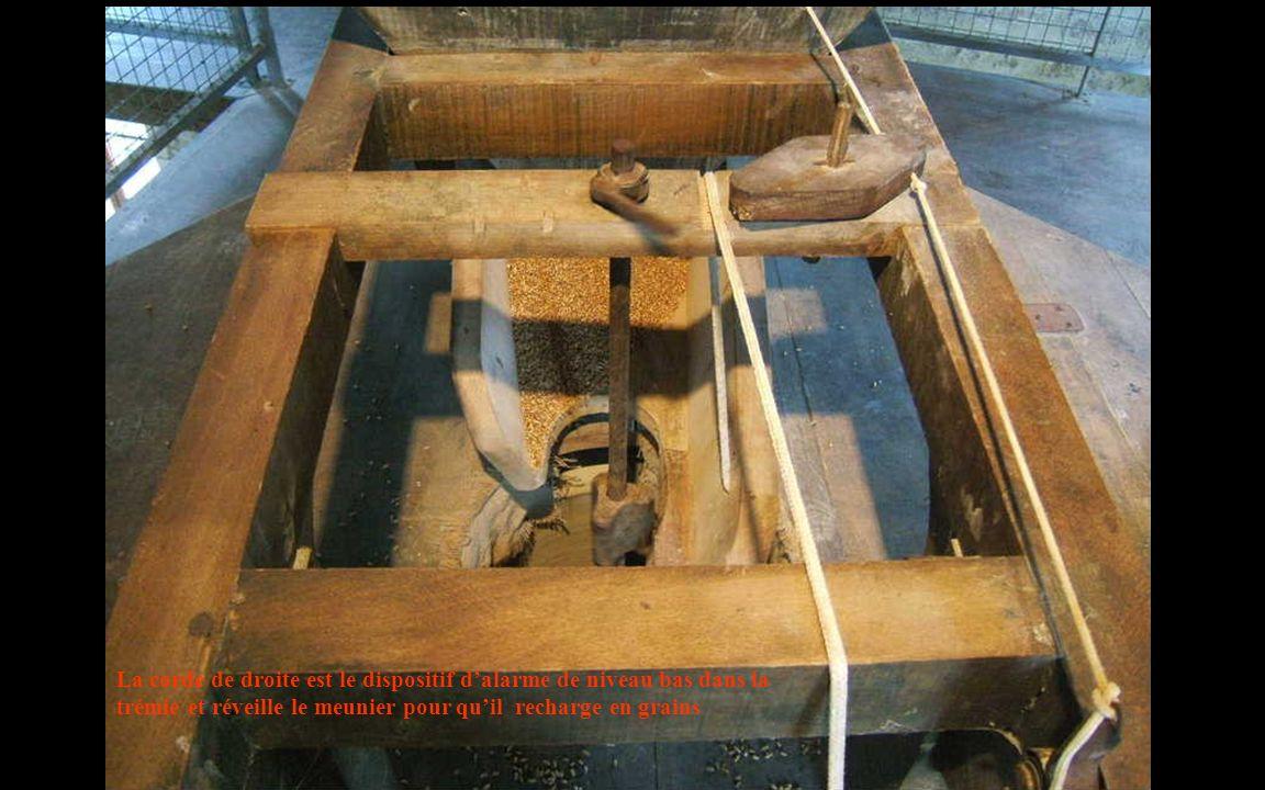 La corde de droite est le dispositif d'alarme de niveau bas dans la trémie et réveille le meunier pour qu'il recharge en grains