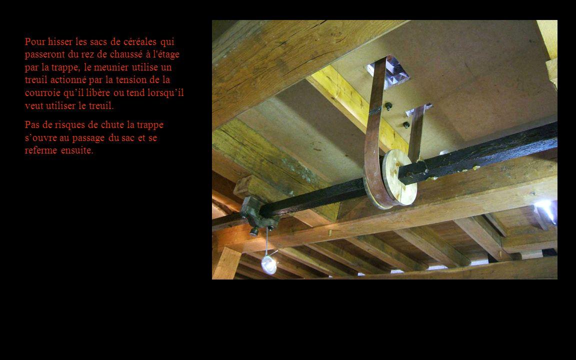 Pour hisser les sacs de céréales qui passeront du rez de chaussé à l étage par la trappe, le meunier utilise un treuil actionné par la tension de la courroie qu'il libère ou tend lorsqu'il veut utiliser le treuil.