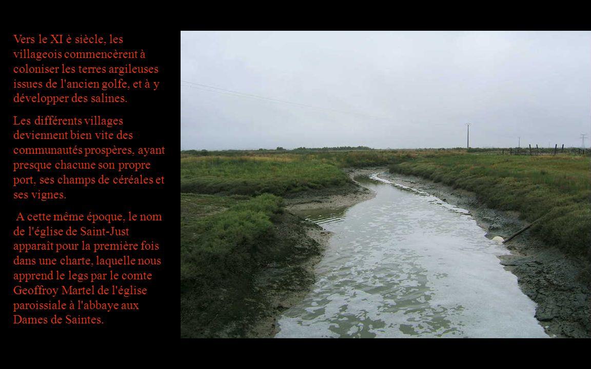 Vers le XI è siècle, les villageois commencèrent à coloniser les terres argileuses issues de l ancien golfe, et à y développer des salines.