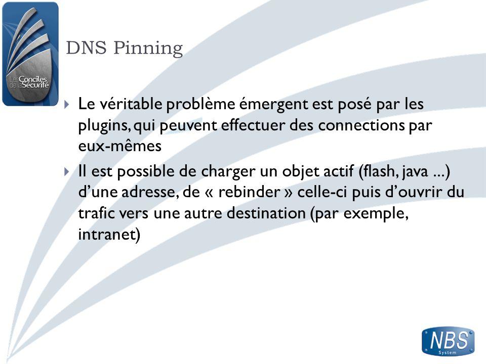 DNS Pinning Le véritable problème émergent est posé par les plugins, qui peuvent effectuer des connections par eux-mêmes.