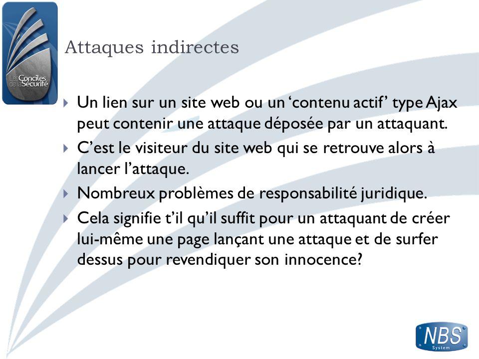 Attaques indirectes Un lien sur un site web ou un 'contenu actif' type Ajax peut contenir une attaque déposée par un attaquant.