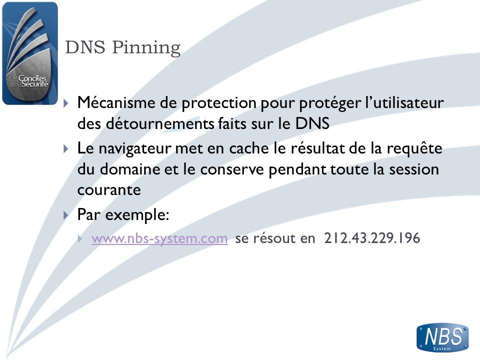 DNS Pinning Mécanisme de protection pour protéger l'utilisateur des détournements faits sur le DNS.