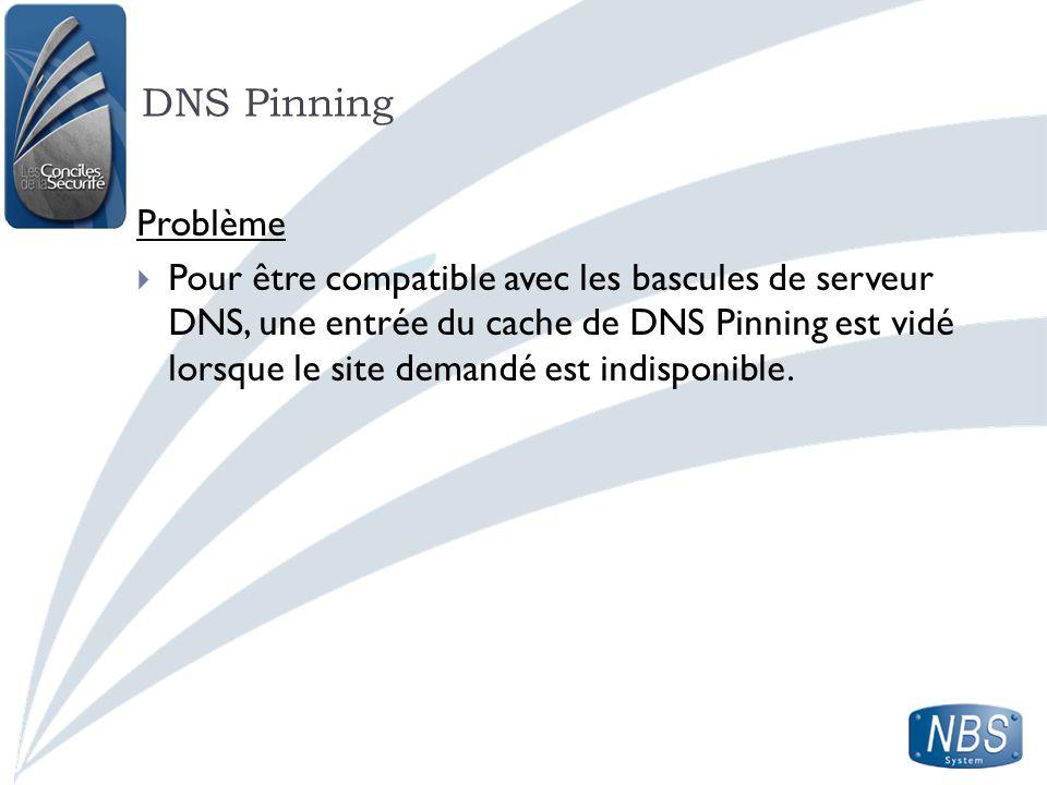 DNS Pinning Problème.