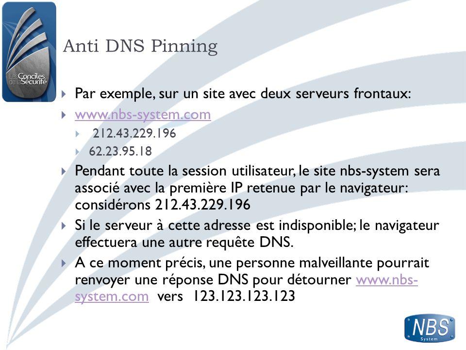 Anti DNS Pinning Par exemple, sur un site avec deux serveurs frontaux: