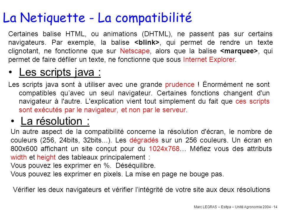 La Netiquette - La compatibilité