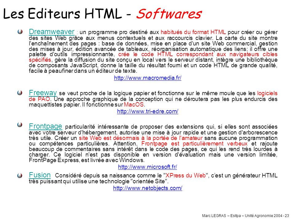 Les Editeurs HTML - Softwares
