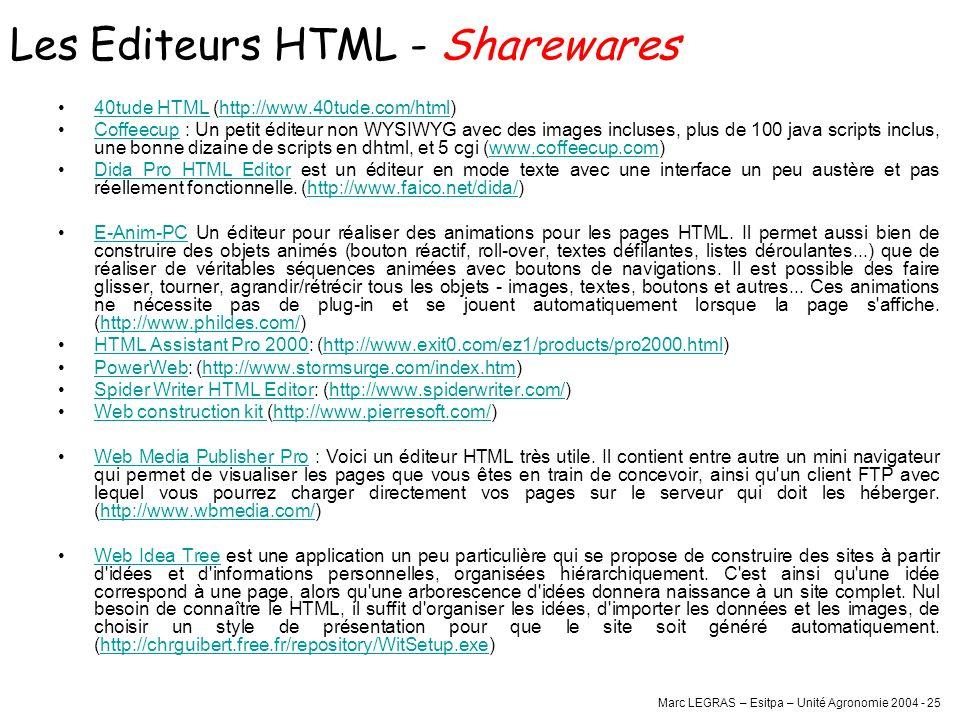 Les Editeurs HTML - Sharewares