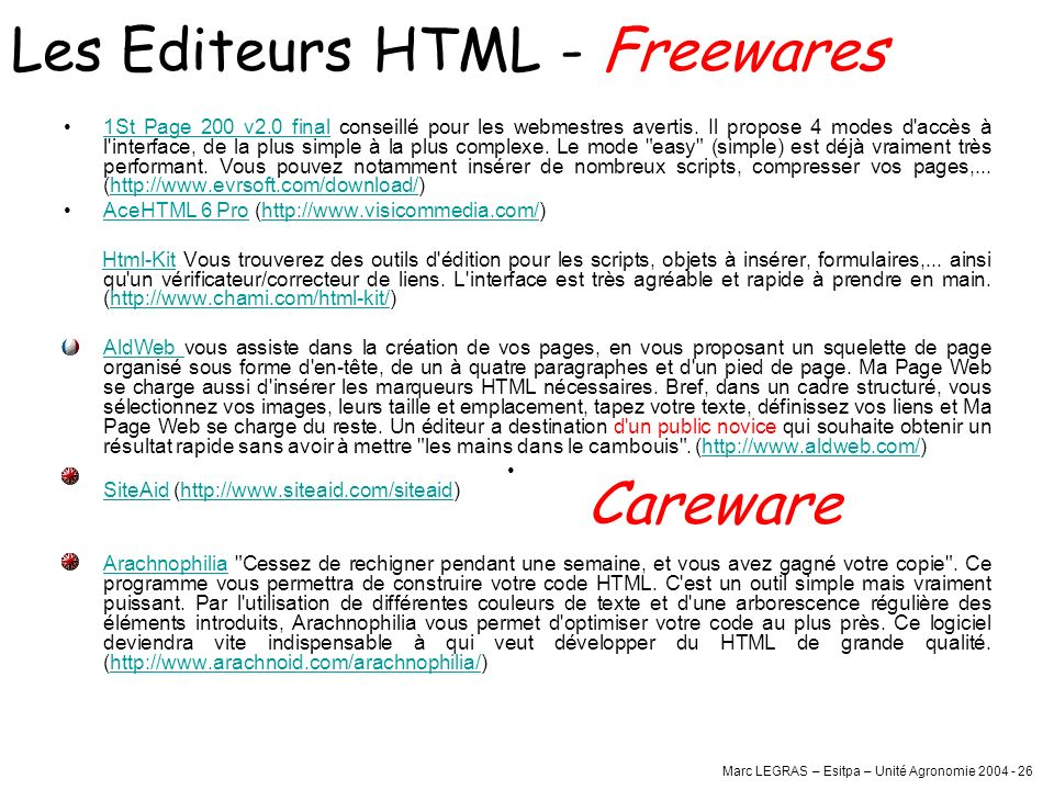 Les Editeurs HTML - Freewares