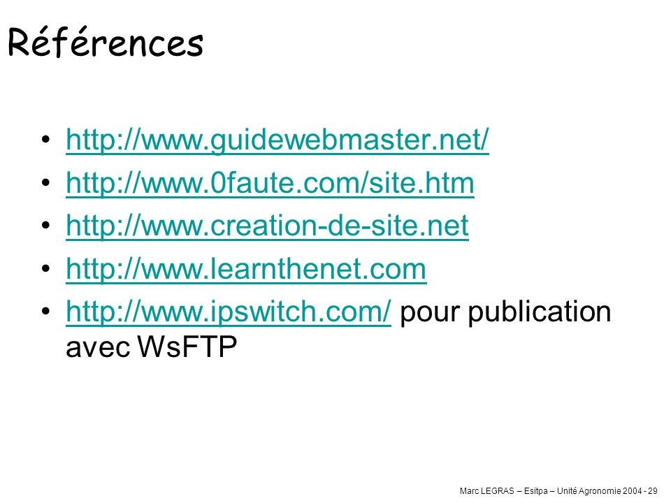 Références http://www.guidewebmaster.net/