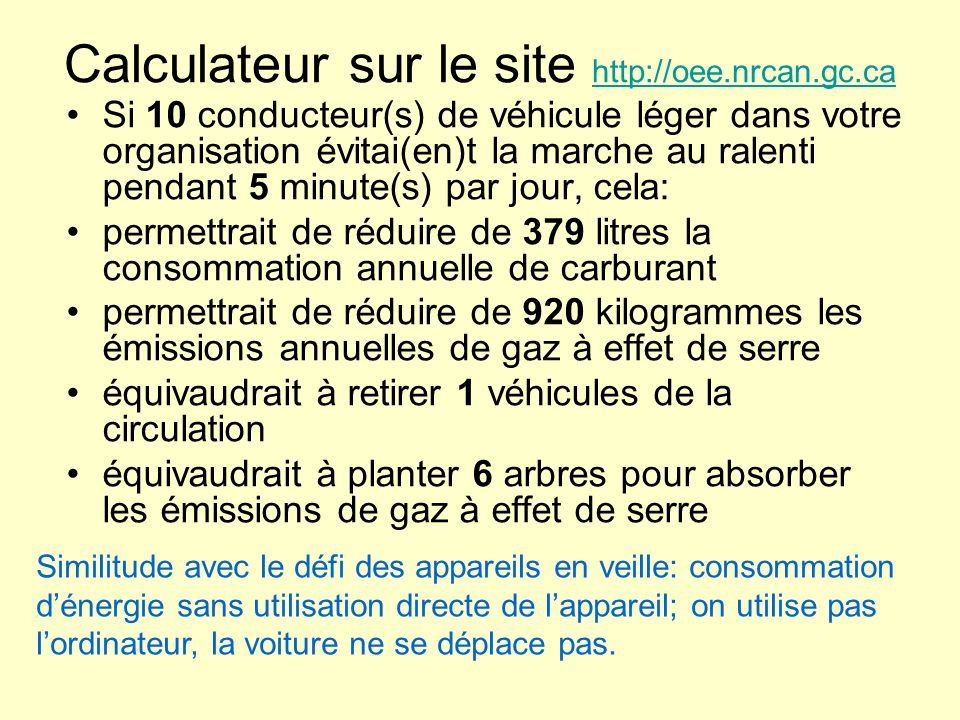 Calculateur sur le site http://oee.nrcan.gc.ca