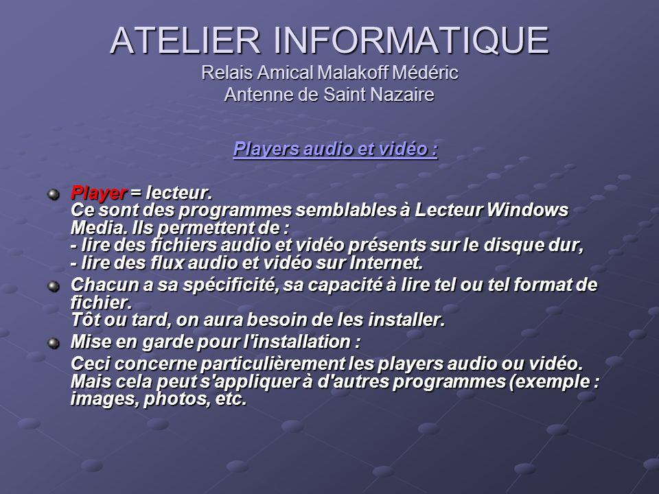 Players audio et vidéo :