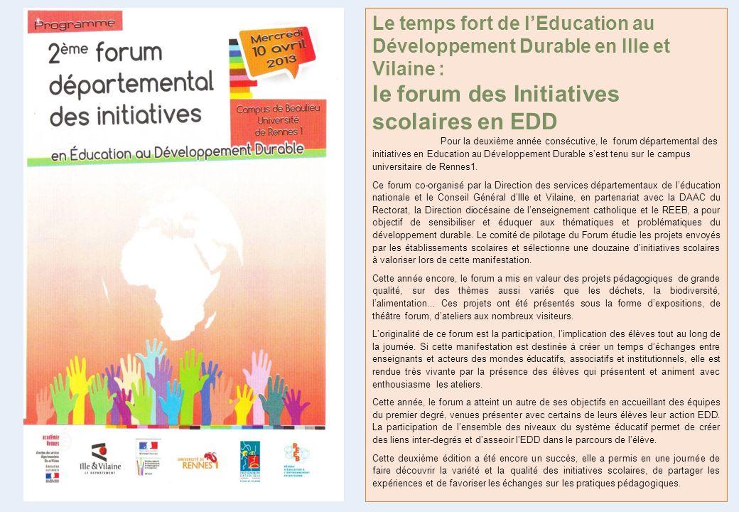 le forum des Initiatives scolaires en EDD