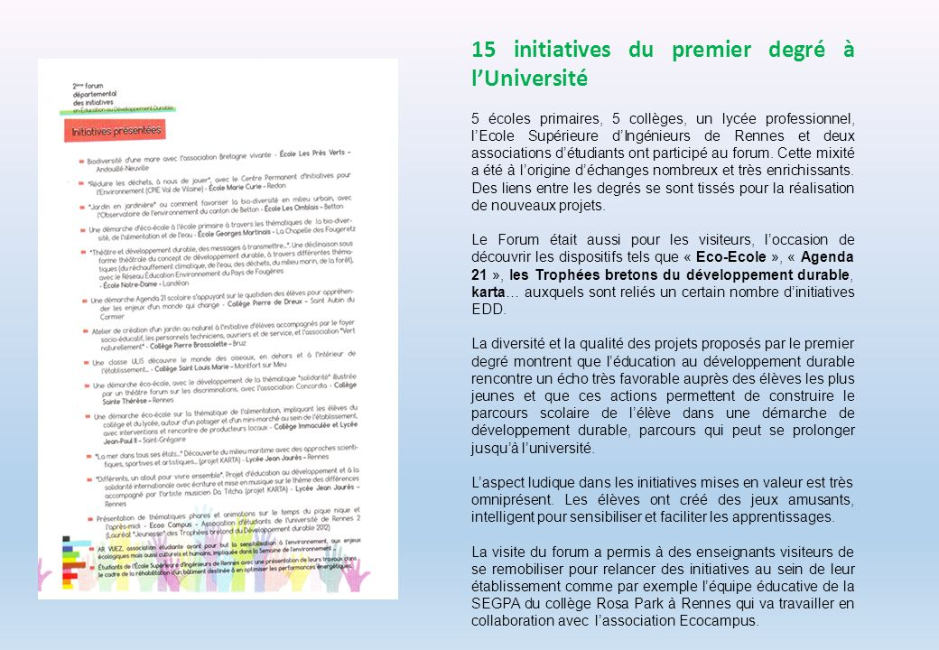15 initiatives du premier degré à l'Université
