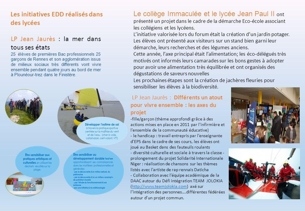 Les initiatives EDD réalisés dans des lycées