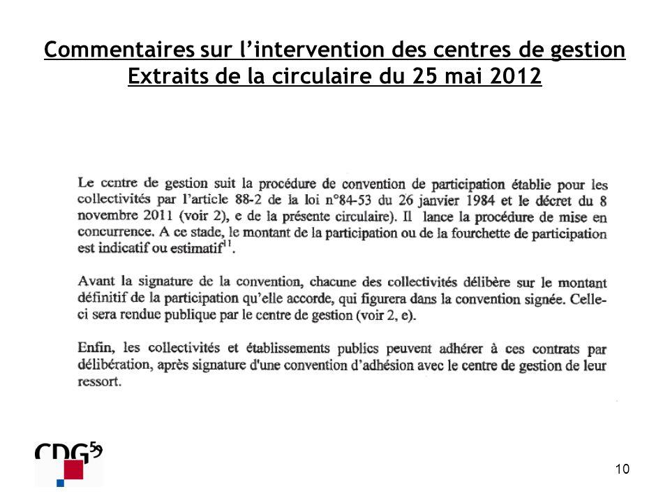 Commentaires sur l'intervention des centres de gestion Extraits de la circulaire du 25 mai 2012