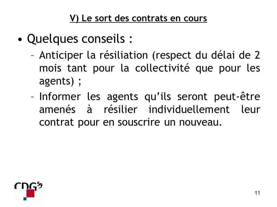 V) Le sort des contrats en cours
