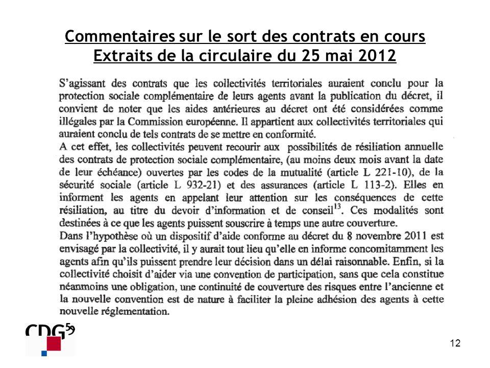Commentaires sur le sort des contrats en cours Extraits de la circulaire du 25 mai 2012