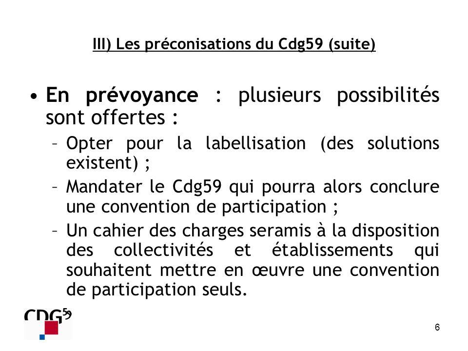 III) Les préconisations du Cdg59 (suite)