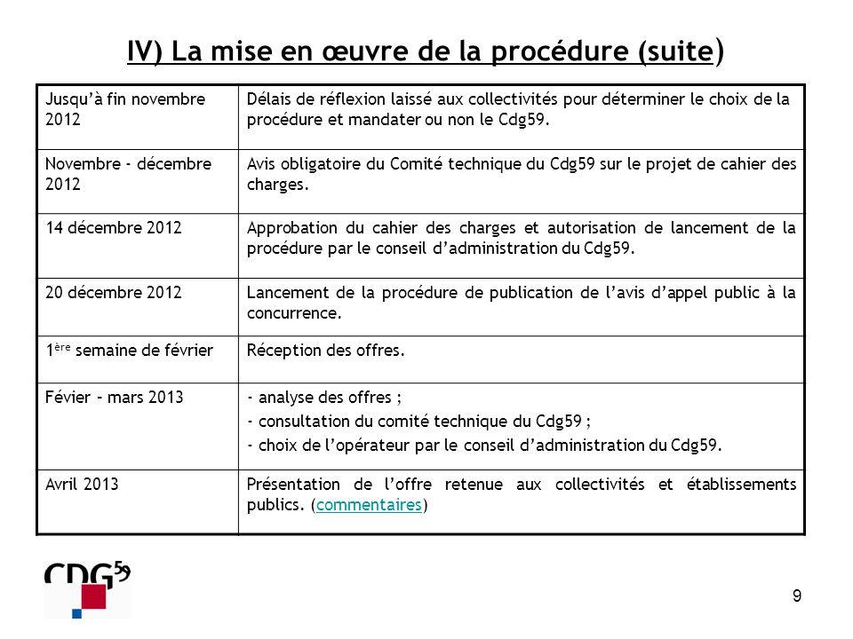 IV) La mise en œuvre de la procédure (suite)