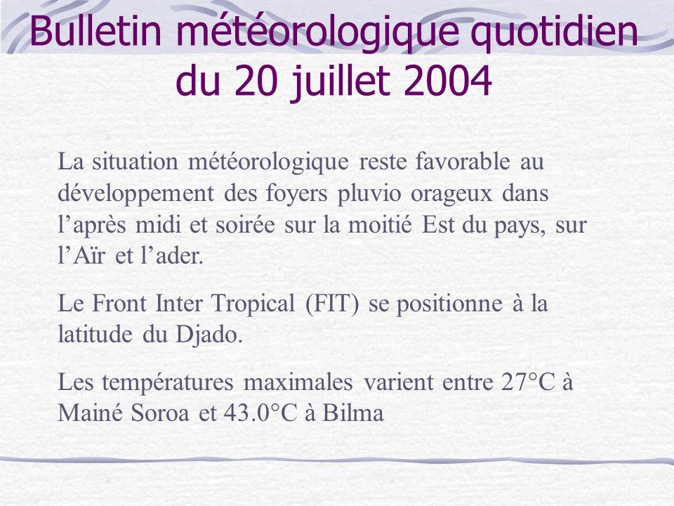 Bulletin météorologique quotidien du 20 juillet 2004