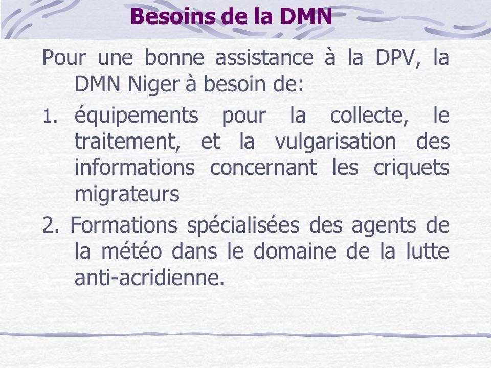 Besoins de la DMN Pour une bonne assistance à la DPV, la DMN Niger à besoin de: