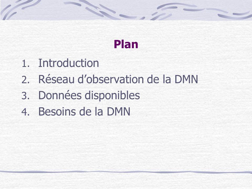 Plan Introduction Réseau d'observation de la DMN Données disponibles Besoins de la DMN