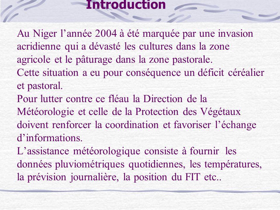 Introduction Au Niger l'année 2004 à été marquée par une invasion acridienne qui a dévasté les cultures dans la zone agricole et le pâturage dans la zone pastorale.