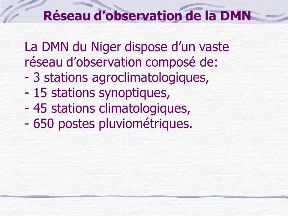Réseau d'observation de la DMN La DMN du Niger dispose d'un vaste réseau d'observation composé de: - 3 stations agroclimatologiques, - 15 stations synoptiques, - 45 stations climatologiques, - 650 postes pluviométriques.