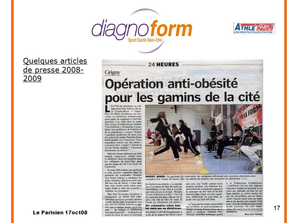 Quelques articles de presse 2008-2009 17 Le Parisien 17oct08