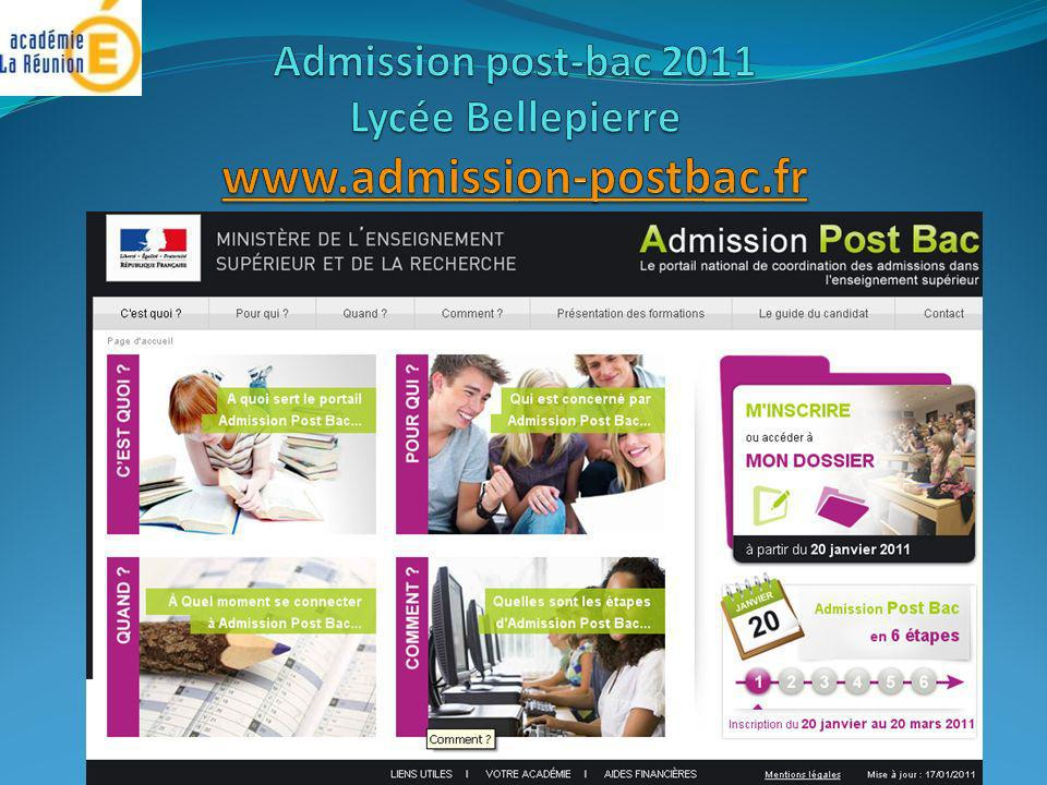 Admission post-bac 2011 Lycée Bellepierre www.admission-postbac.fr
