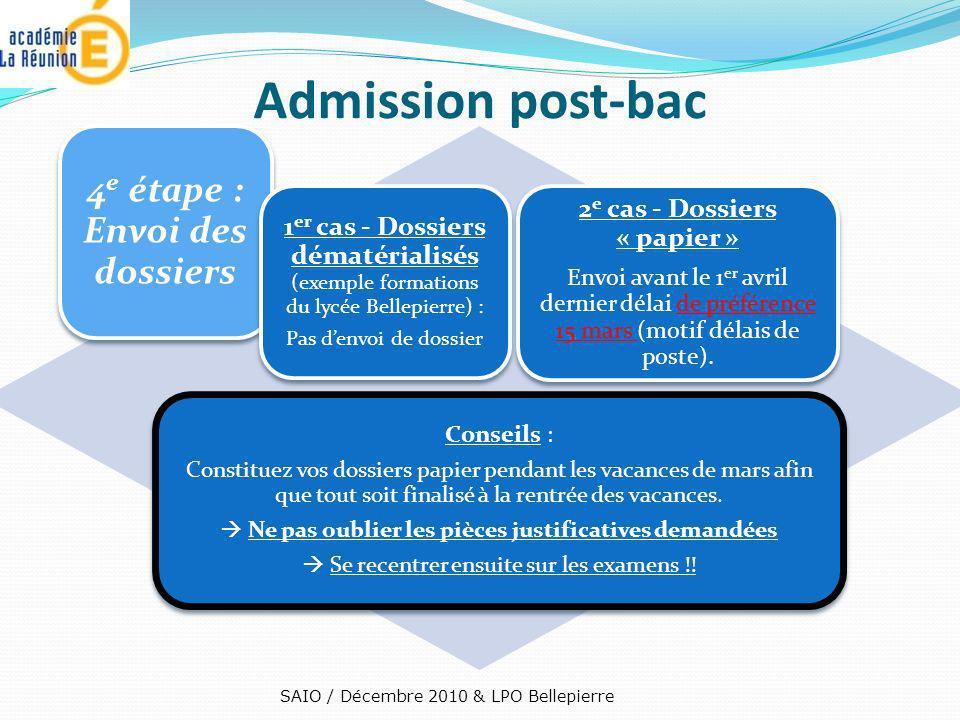 4e étape : Envoi des dossiers 2e cas - Dossiers « papier »