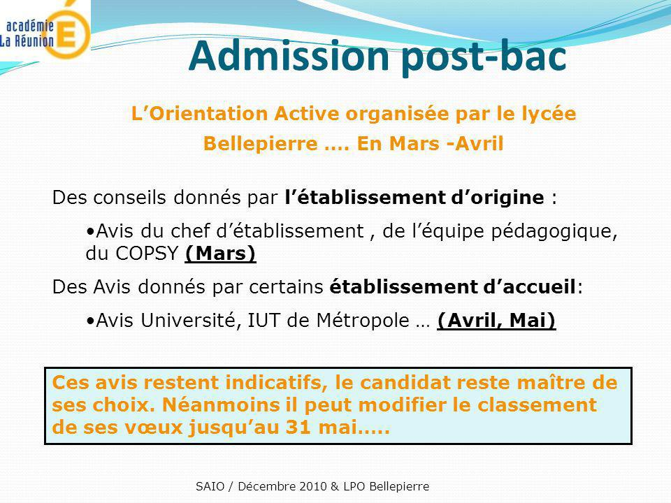 Admission post-bac L'Orientation Active organisée par le lycée Bellepierre …. En Mars -Avril. Des conseils donnés par l'établissement d'origine :