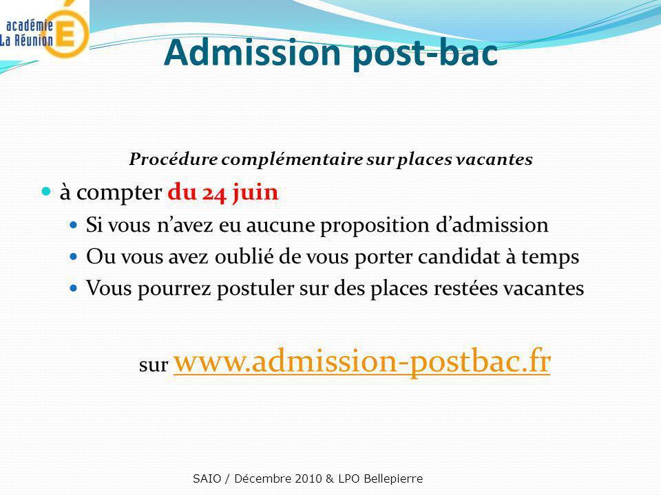 Admission post-bac à compter du 24 juin