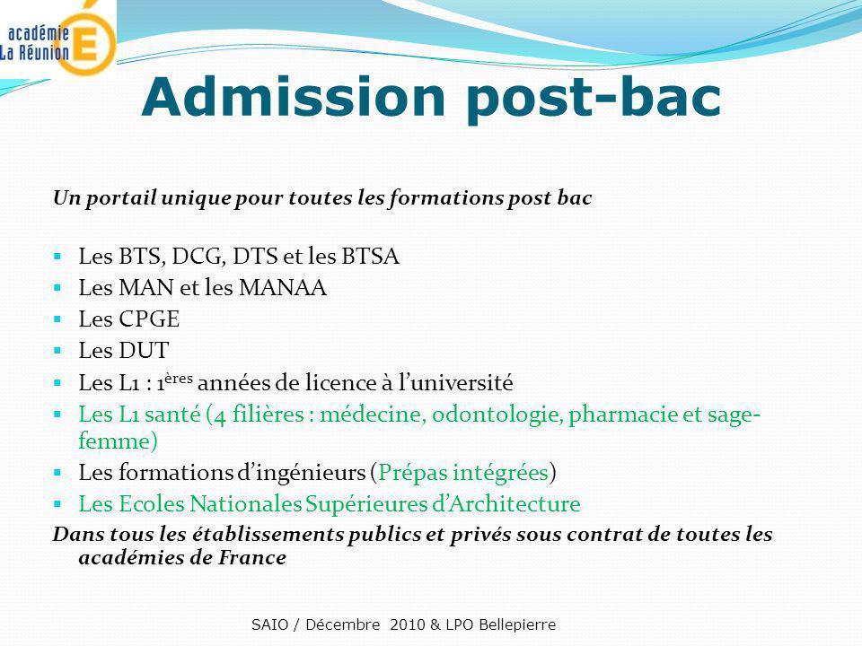 Admission post-bac Les BTS, DCG, DTS et les BTSA Les MAN et les MANAA