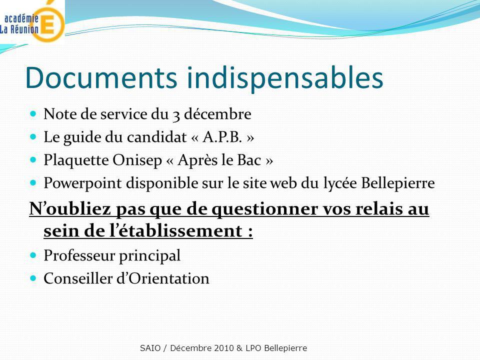 Documents indispensables