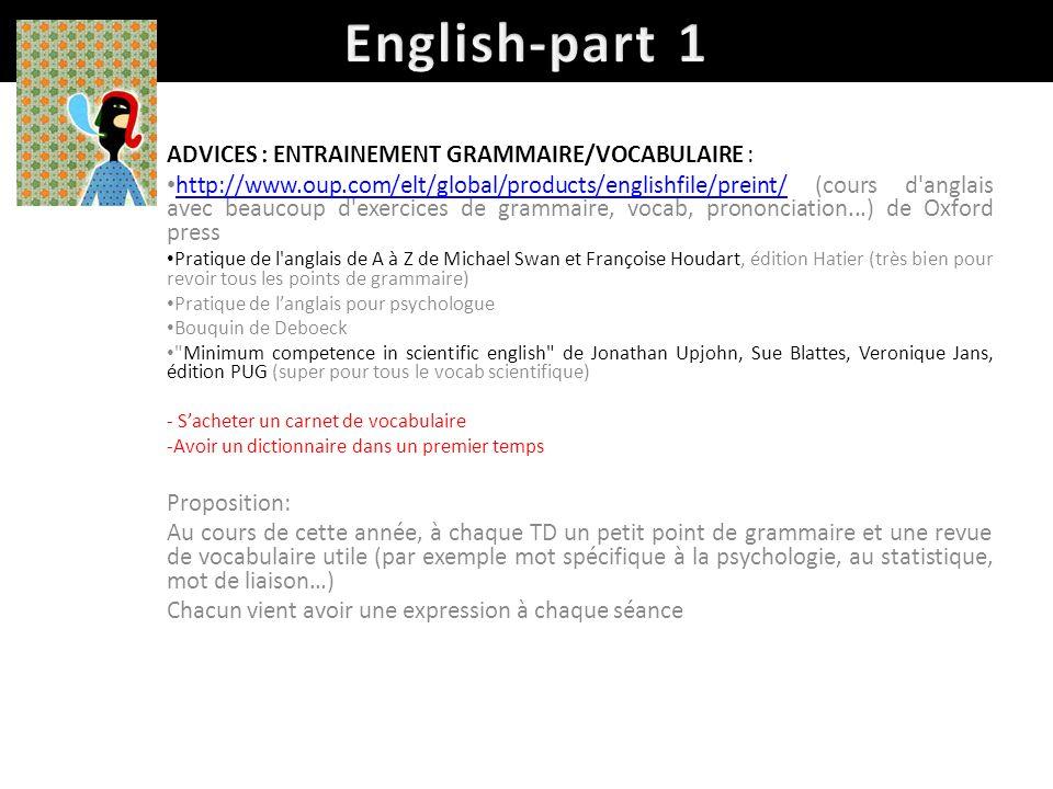 English-part 1 ADVICES : ENTRAINEMENT GRAMMAIRE/VOCABULAIRE :