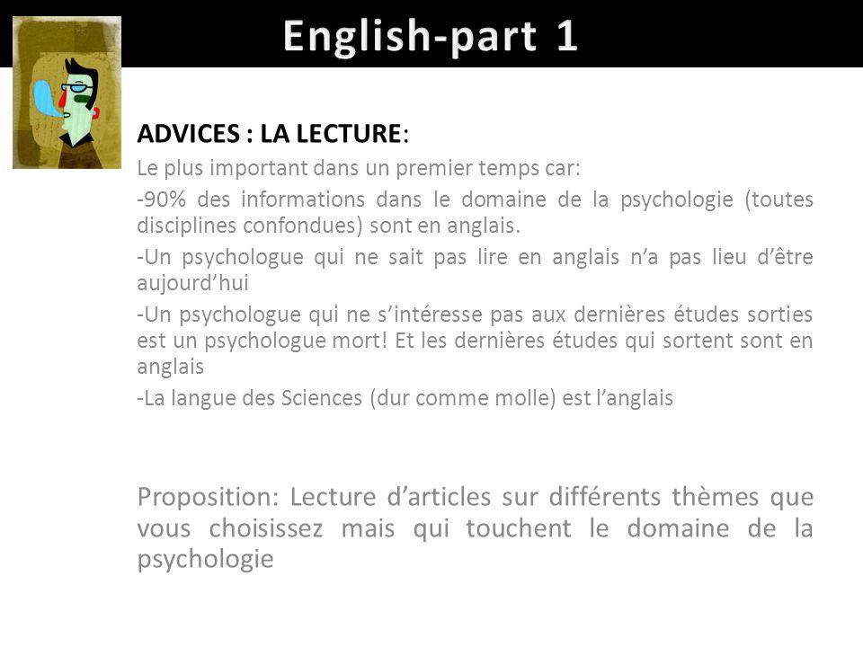 English-part 1 ADVICES : LA LECTURE: