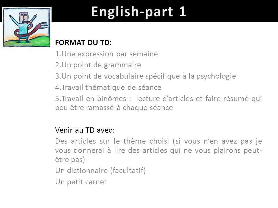 English-part 1 FORMAT DU TD: Une expression par semaine