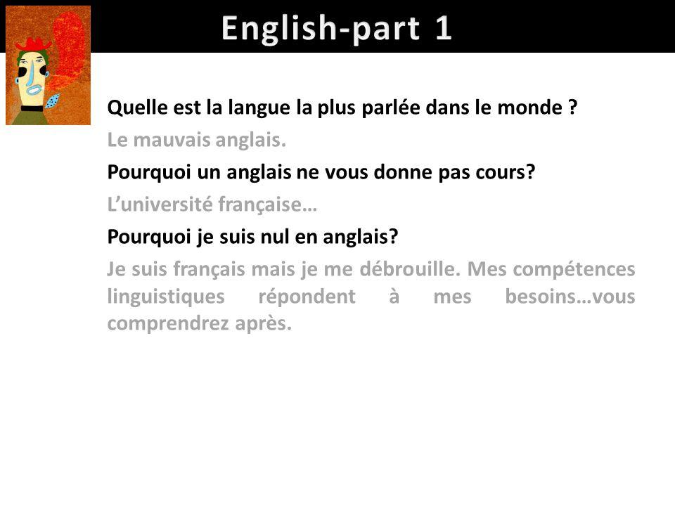 English-part 1 Quelle est la langue la plus parlée dans le monde