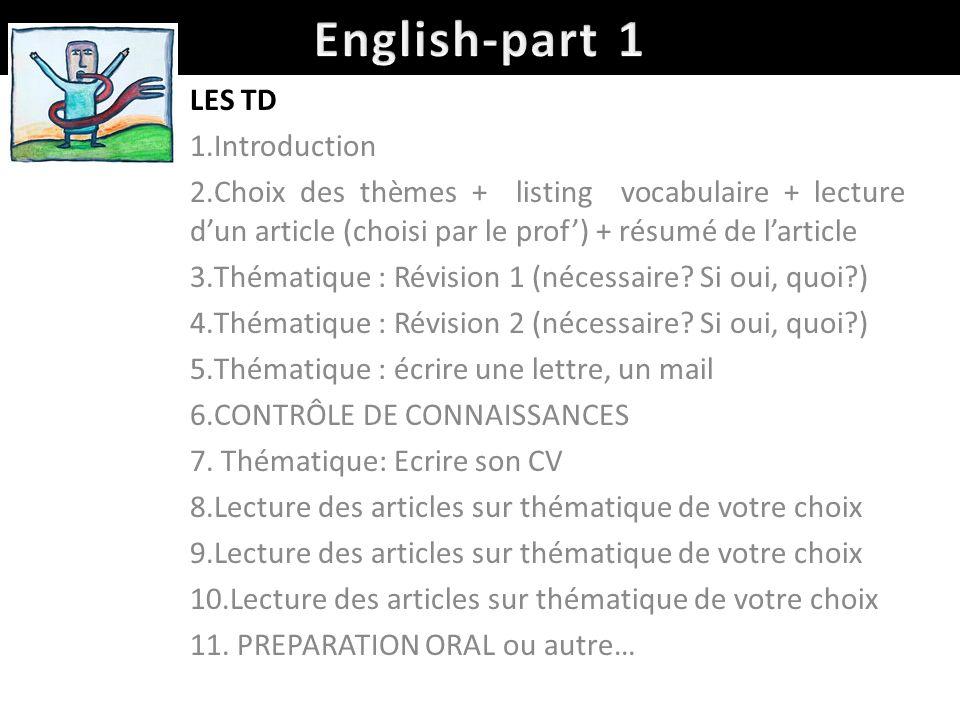 English-part 1 LES TD Introduction