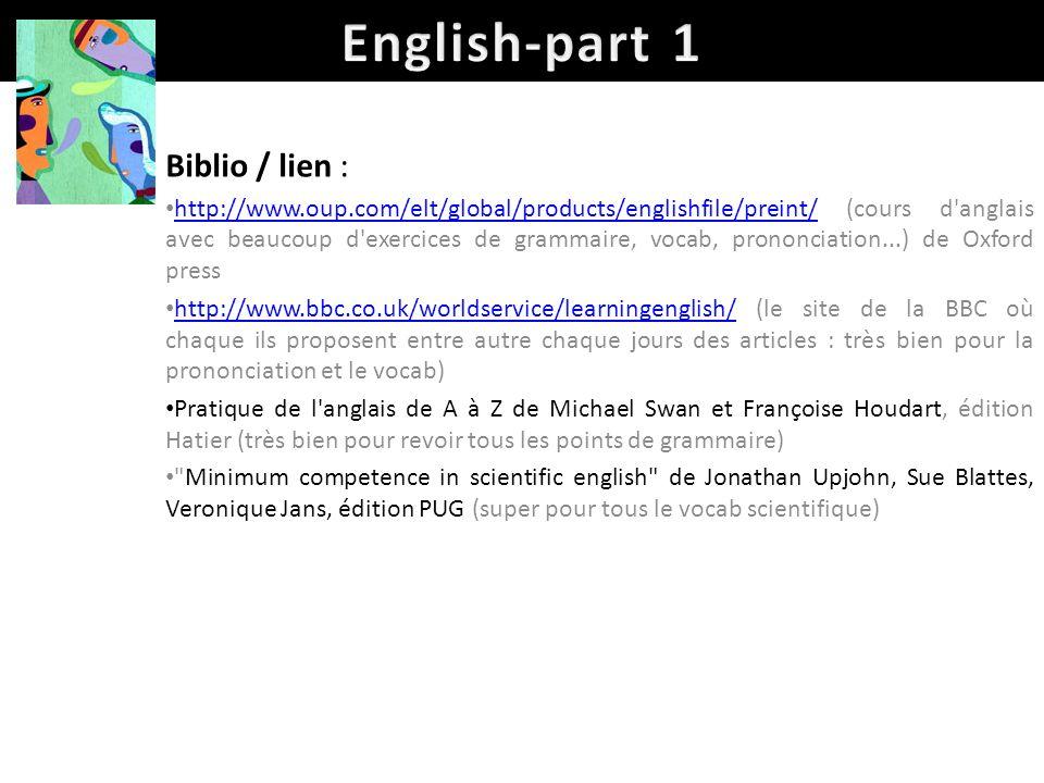English-part 1 Biblio / lien :