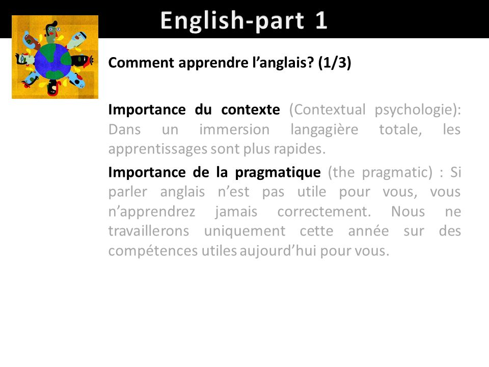 English-part 1 Comment apprendre l'anglais (1/3)