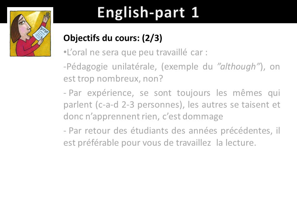 English-part 1 Objectifs du cours: (2/3)