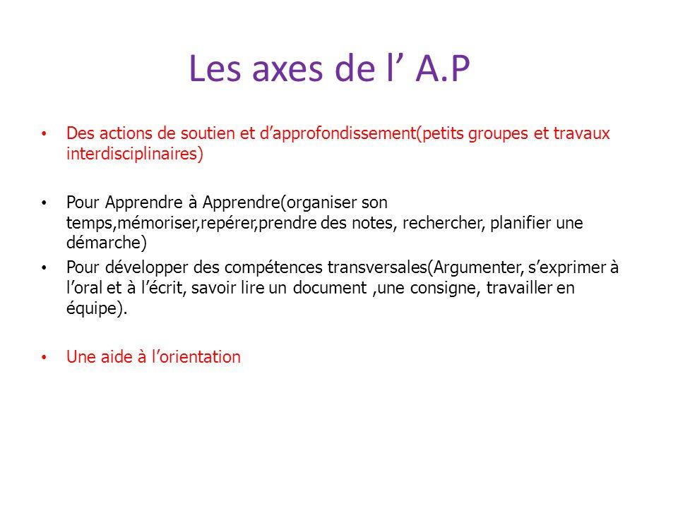 Les axes de l' A.P Des actions de soutien et d'approfondissement(petits groupes et travaux interdisciplinaires)