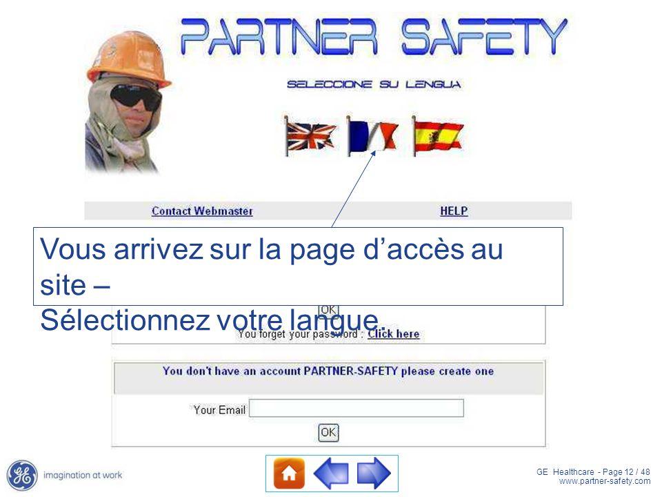 Vous arrivez sur la page d'accès au site –