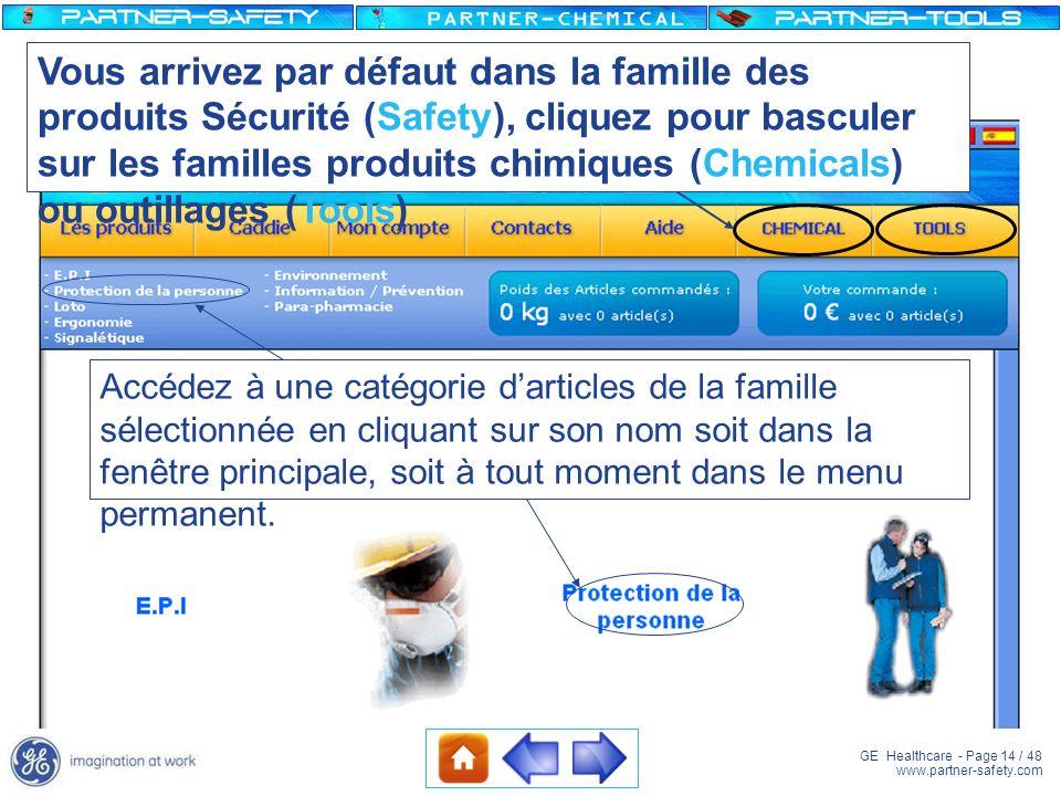 Vous arrivez par défaut dans la famille des produits Sécurité (Safety), cliquez pour basculer sur les familles produits chimiques (Chemicals) ou outillages (Tools)