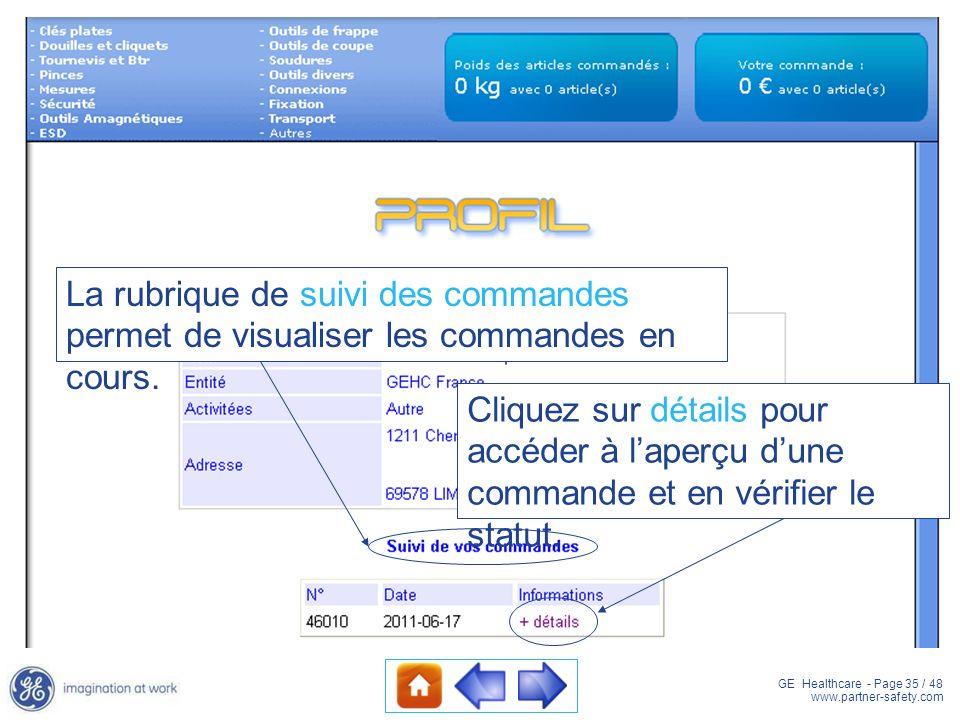 La rubrique de suivi des commandes permet de visualiser les commandes en cours.